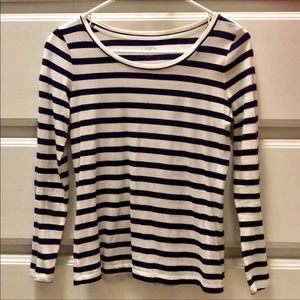 LOFT Navy and Cream Striped Longsleeved T-shirt